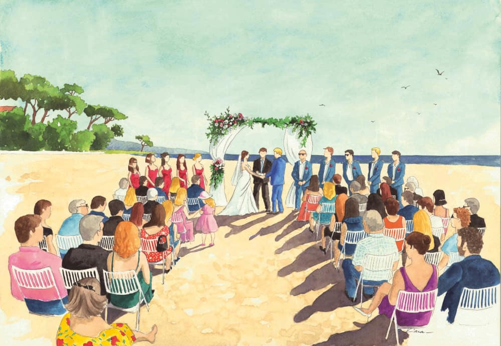 Painting of a wedding ceremony on the beach, South of France