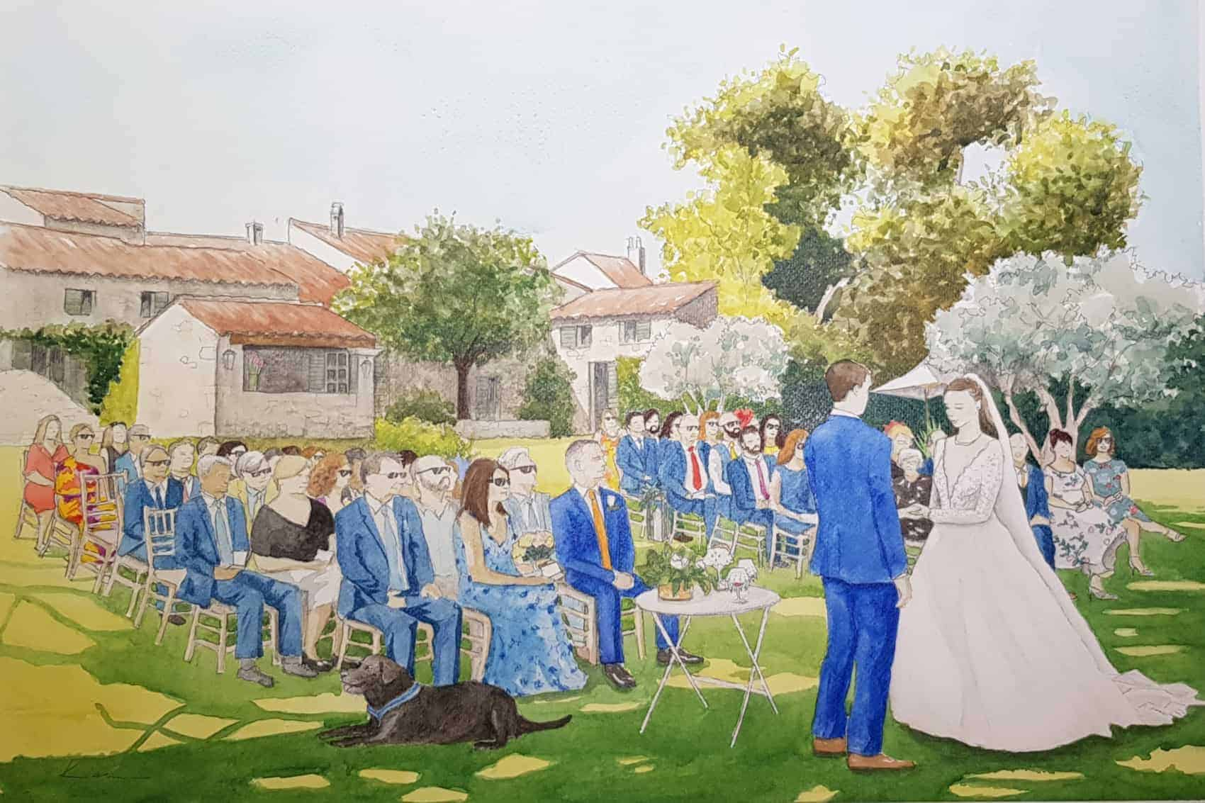 Watercolor live painting of a wedding in Provence, South of France