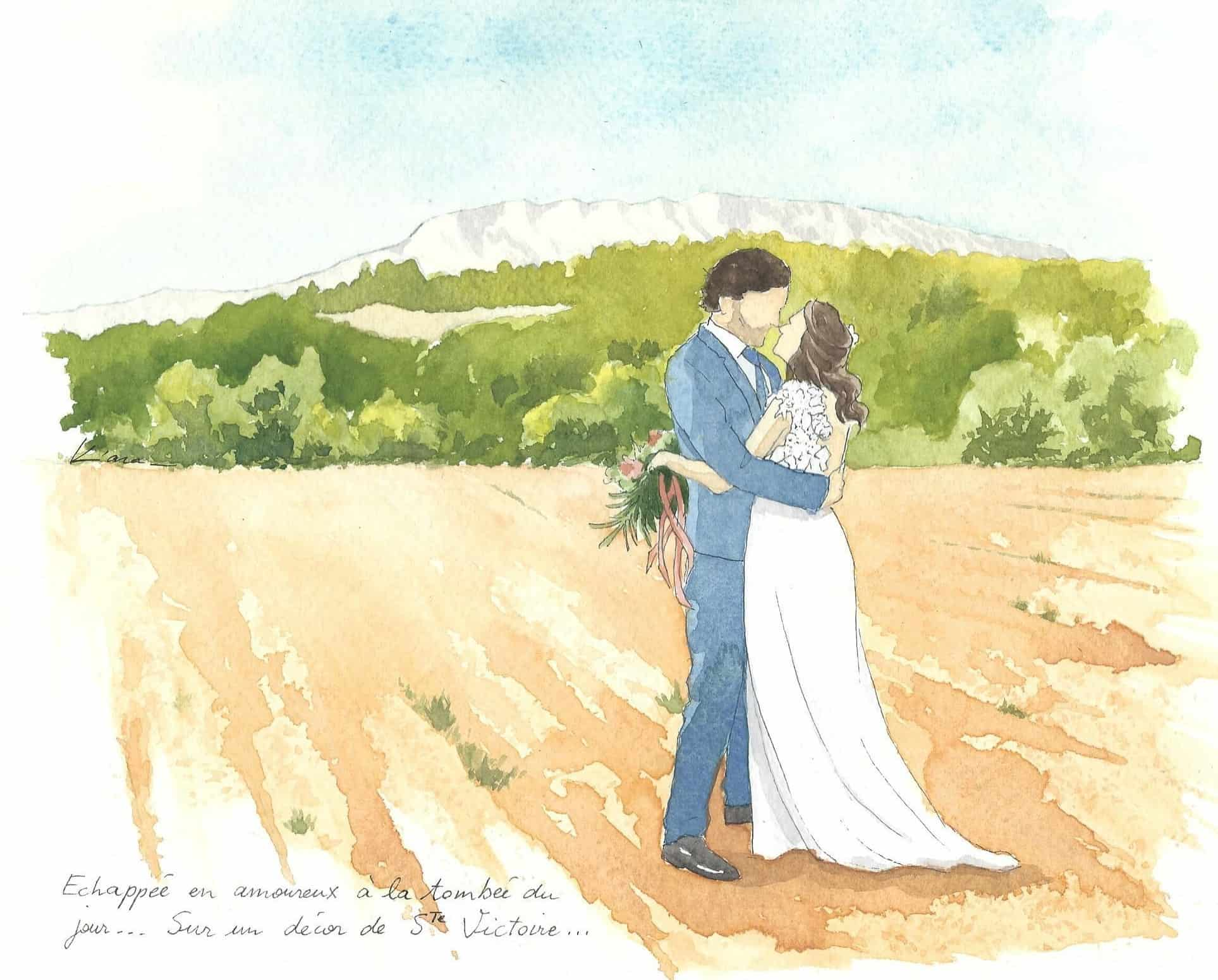 watercolor painting of the newlyweds with the Saint Victoire in background, Aix-en-Provence, France