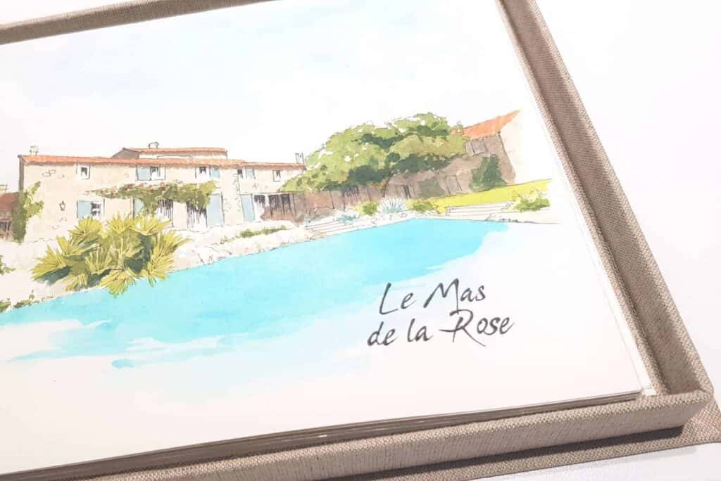 Watercolor painting of a wedding venue in Provence, France