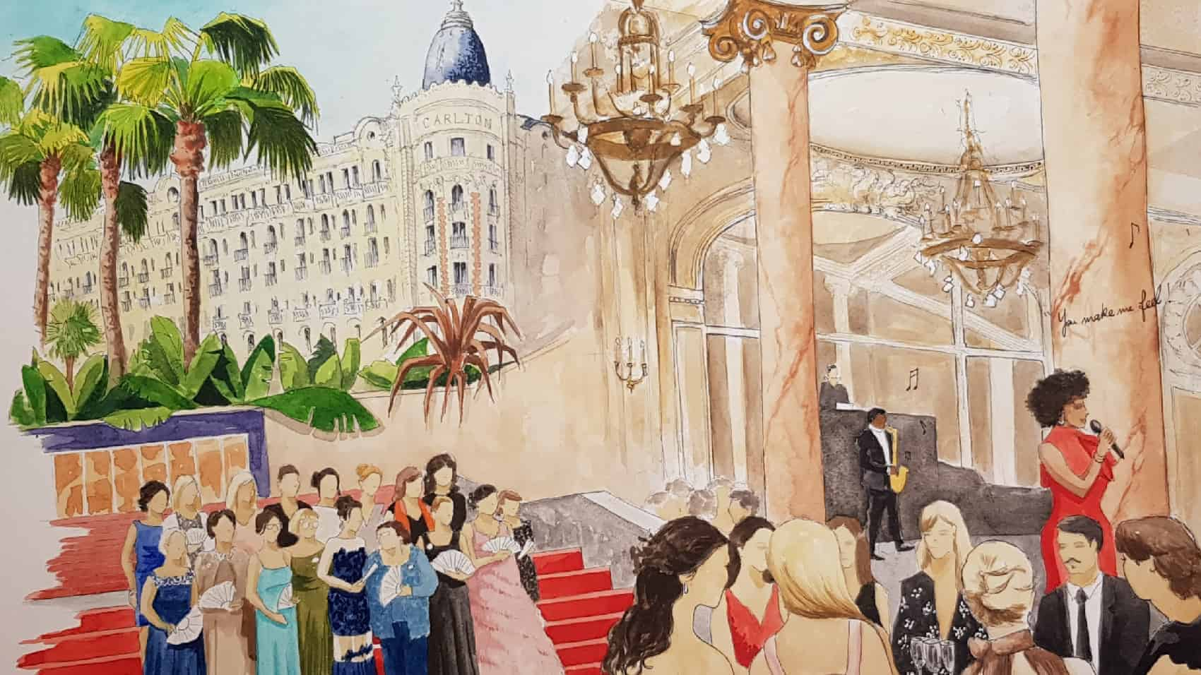 Live Painting for a private event in Carlton Hostel, Cannes, French Riviera