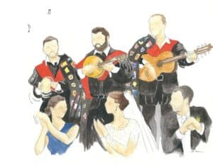 Watercolor painting for a wedding: the live music group