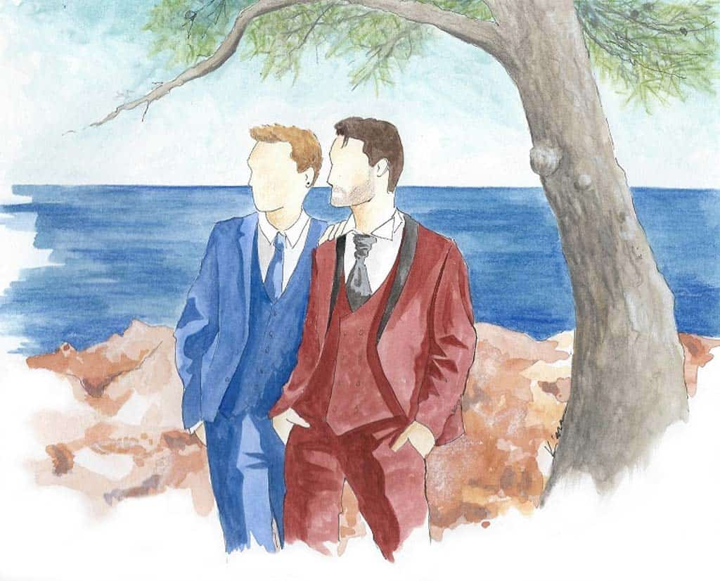 Wedding painting with the grooms with the seaview of St Raphael, French Riviera