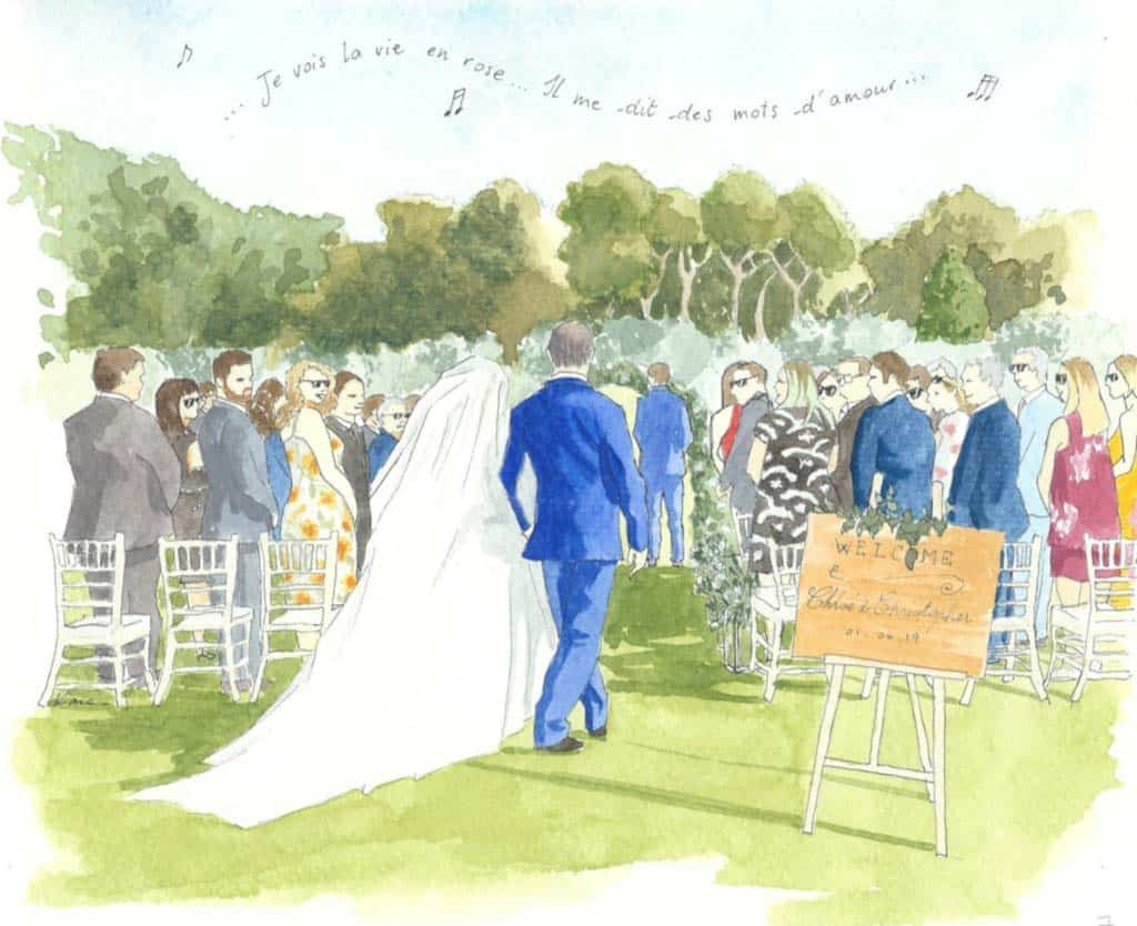 painting of a wedding cerrmony outside in Provence