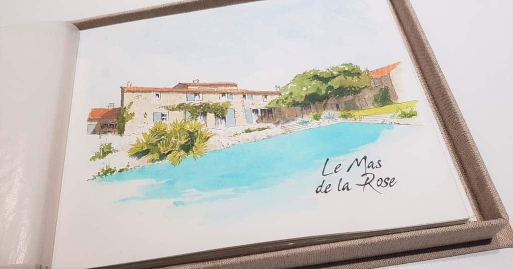 Wedding book in watercolor with the beautiful wedding place: Le Mas de la Rose in Provence