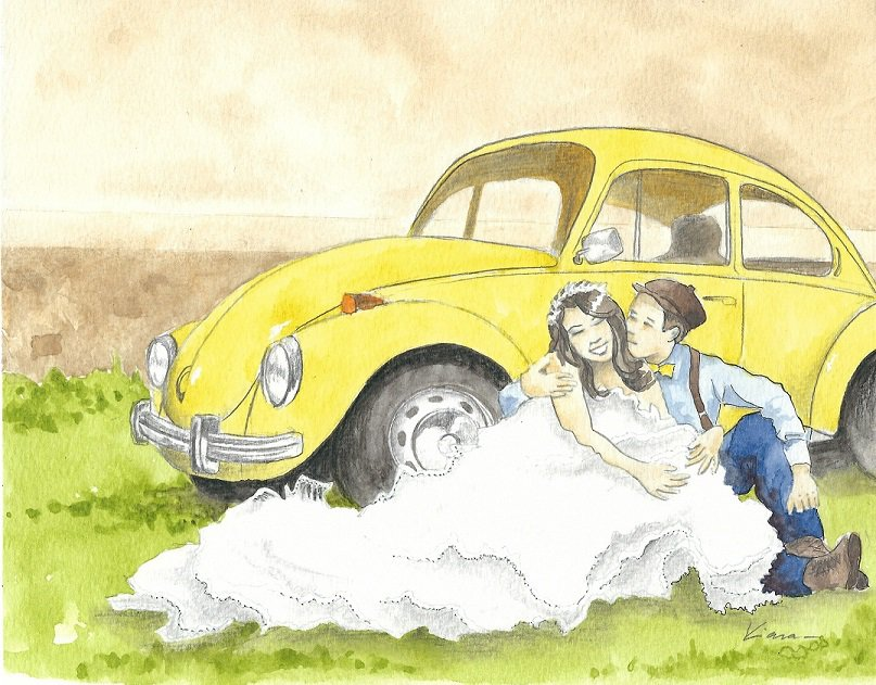 A painting with the bride and groom in front of their car : original wedding gift. South of France